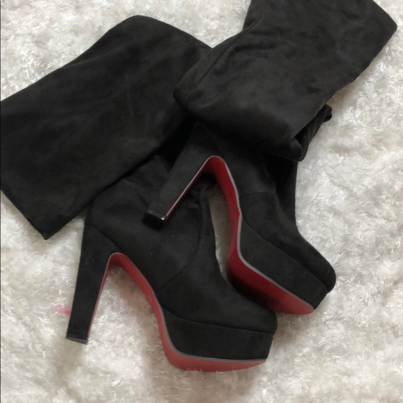 826823d98fd Black red bottom faux suede otk boots 38 NWT